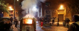 In Naples, protesters against COVID restrictions threw smoke bombs at police