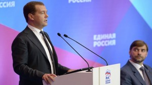 Dmitry Medvedev at the party congress