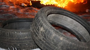 fire in a tire plant