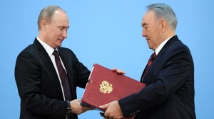 The presidents of Russia and Kazakhstan